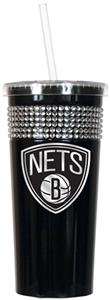 NBA Brooklyn Nets 16oz Bling Tumbler w/ Straw