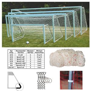 Aluminum Square Club Soccer Goals 7'x21' Pair