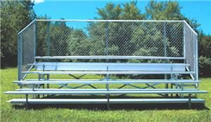 5 Row Bleachers W/Chain Link Enclosure 15' or 21'