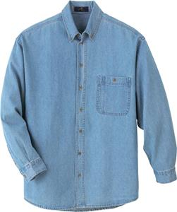 Ash City Mens Denim Button Down Long Sleeve Shirt