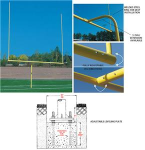 H.S. Football Yellow Level Plate Goal Post 5&#39; / 6&#39;