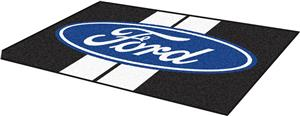 Fan Mats Ford Oval with Stripes 4'x6' Rug