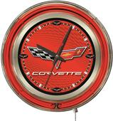 Holland GM Corvette C6 Red Face Neon Logo Clock