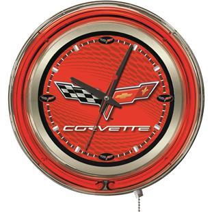 Holland GM Corvette C6 Red Face Neon Logo Clock