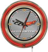 Holland GM Corvette C6 Silver Face Neon Logo Clock