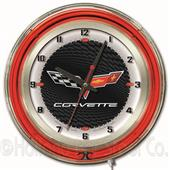"GM Corvette C6 19"" Black Face Neon Logo Clock"