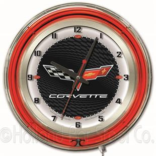 "GM Corvette C6 19"" Black Face Neon Logo Clock"