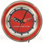 "GM Corvette C6 19"" Red Face Neon Logo Clock"