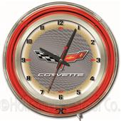 "GM Corvette C6 19"" Silver Face Neon Logo Clock"