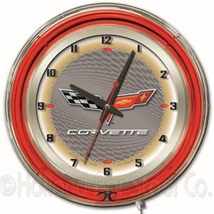 "GM Corvette C6 19"" Silver Face Neon Logo Clock"