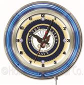 "Holland United States Navy Neon 19"" Clock"