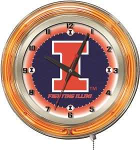 "Holland University of Illinois Neon 19"" Clock"