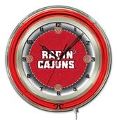 "University Louisiana at Lafayette Neon 19"" Clock"