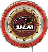 "University of Louisiana at Monroe Neon 19"" Clock"