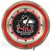 "University of Northern Illinois Neon 19"" Clock"