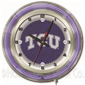 "Holland TCU NCAA Neon 19"" Clock"