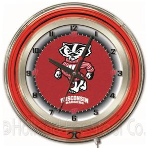 "University of Wisconsin ""Badger"" Neon 19"" Clock"