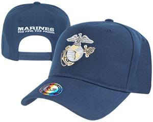 Snapback Metallic Embroidery Marines Military Cap