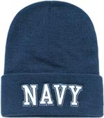 Navy Text Classic Military Long Beanie
