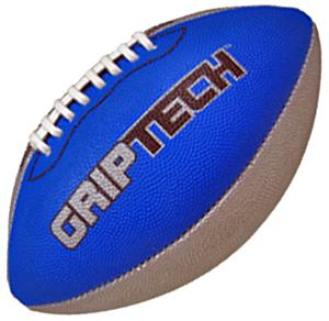 Blue GripTech JR  Football Stitched Deluxe Rubber