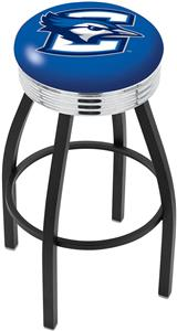 Creighton U Ribbed Ring Black or Chrome Bar Stool