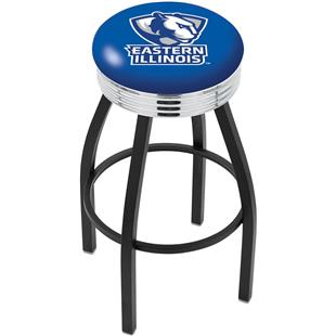 Eastern Illinois Ribbed Ring Blk/Chrome Bar Stool