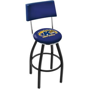 Kent State Univ Swivel Back Black/Chrome Bar Stool