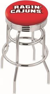Louisiana-Lafayette Ribbed Double-Ring Bar Stool