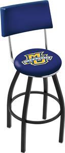 Marquette Univ Swivel Back Blk/Chrome Bar Stool