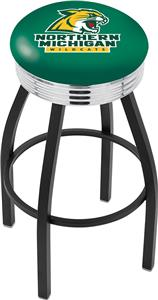 Northern Michigan U Ribbed Ring Blk/Chrm Bar Stool
