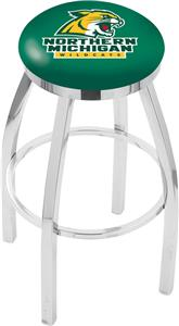 Northern Michigan Univ Flat Ring Chrome Bar Stool