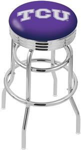 Holland TCU Ribbed Double-Ring Bar Stool
