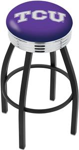 Holland TCU Ribbed Ring Black or Chrome Bar Stool
