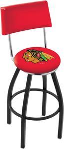 NHL Blackhawks Red Swivel Back Blk/Chrm Bar Stool