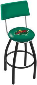 NHL Minnesota Wild Swivel Back Blk/Chrm Bar Stool
