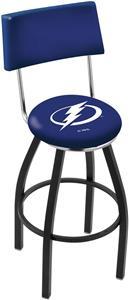 Tampa Bay Lightning Swivel Back Blk/Chrm Bar Stool