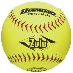 """Diamond Zulu Red Stitch 12"""" ASA Synthetic Softball"""