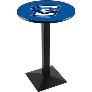 Creighton Univ Blk/Chrome Square Base Pub Table