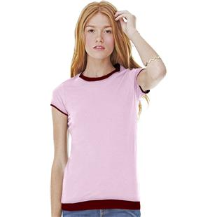 Bella Womens Sheer S/S Shirt Crew T-Shirt Top
