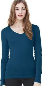 Bella+Canvas Sheer Mini Rib Long Sleeve V-Neck Tee