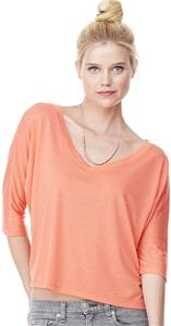Bella+Canvas Flowy Half-Sleeve Cropped V-Neck Tee