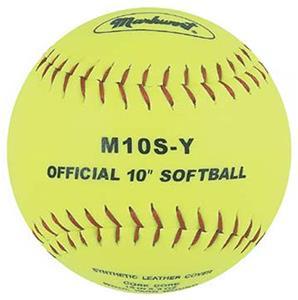 """Markwort Yellow 10"""" Synthetic Cover Softballs"""