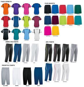 Womens Faux Front Softball Jersey Uniform Kits