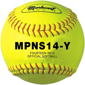 "Markwort 14"" Large Leather White/Yellow Softballs"
