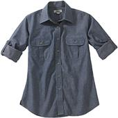 Edwards Womens Chambray Roll-Up Long Sleeve Shirt