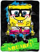 Northwest SpongeBob Neon Nerd Micro Raschel Throw