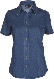 Big Bang Apparel Womens Short Sleeve Denim Shirt