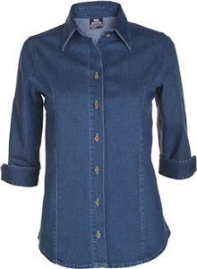 Big Bang Apparel Womens 3/4 Sleeve Denim Shirt