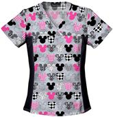 Tooniforms Women's Mickey V-Neck Knit Scrub Top