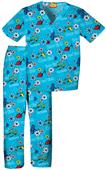 Tooniforms Kid's Dr. Seuss 1-2 Red Blue Scrub Set